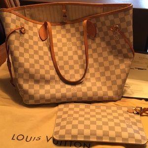 LOUIS VUITTON Neverful medium Azur w/small clutch